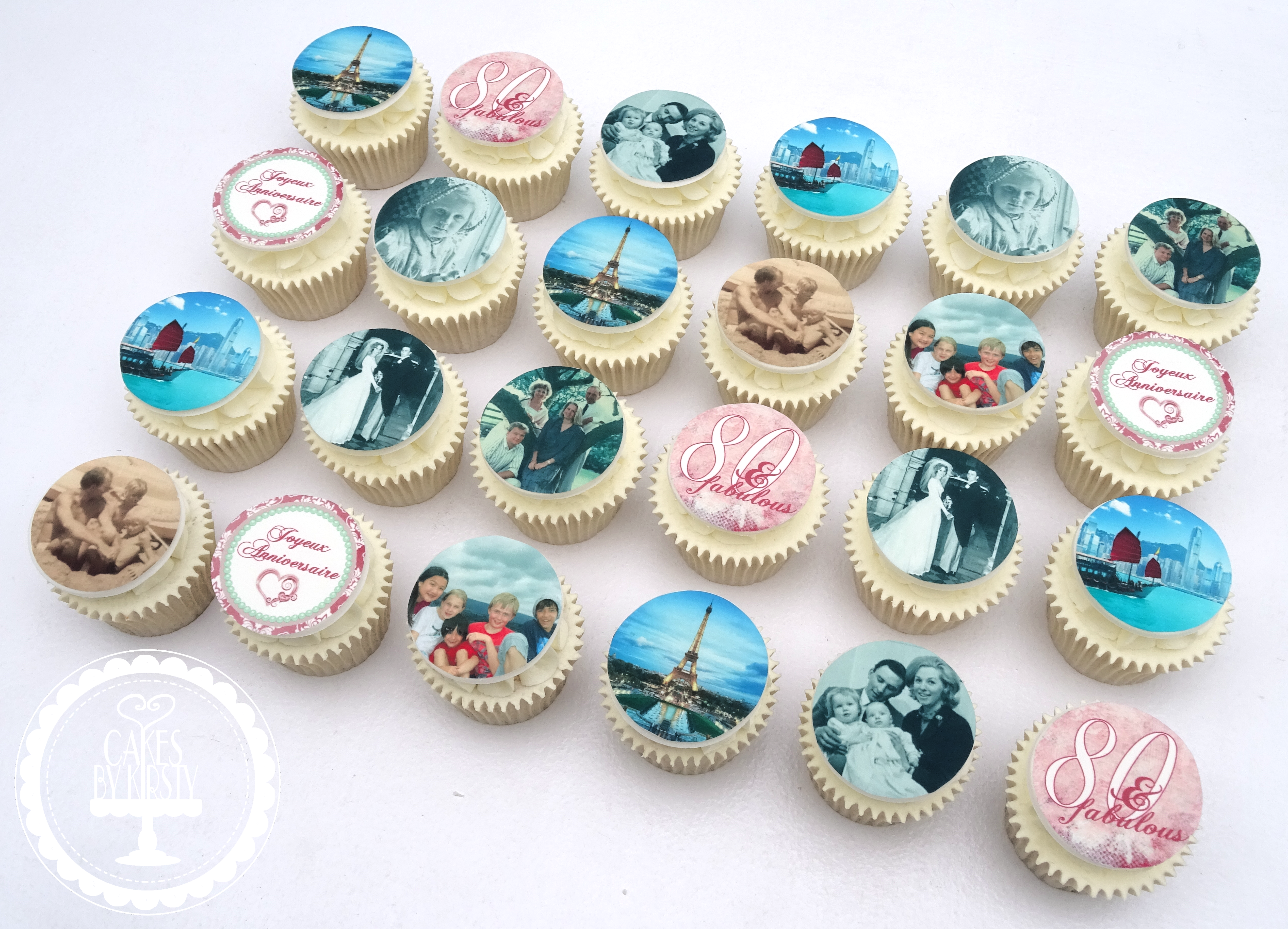 80th Edible Image Cupcakes