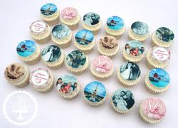 80th Edible Image Cupcakes