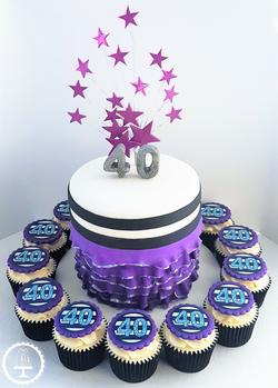Purple Starburst Cake & Cupcakes