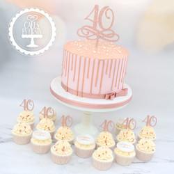 20200307 - Rose Gold 40th Drip Cake & Cu
