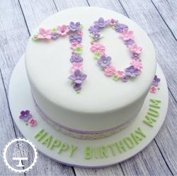 Floral 70th Birthday Cake