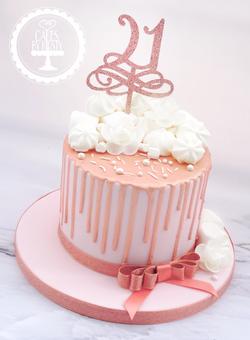 Rose Gold Drip 21st Birthday Cake