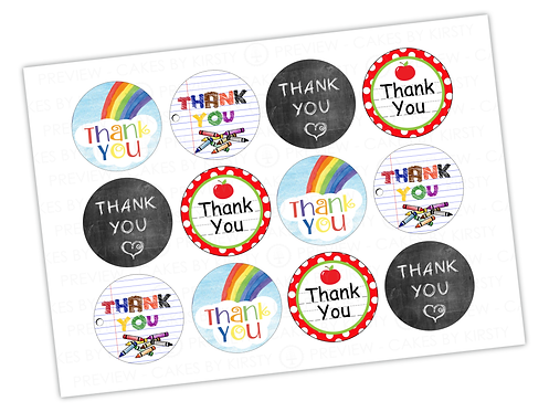 Thank You Teacher - Set 2 - 12x 2.25""