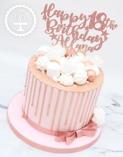 20200307 - Rose Gold 18th Drip Cake