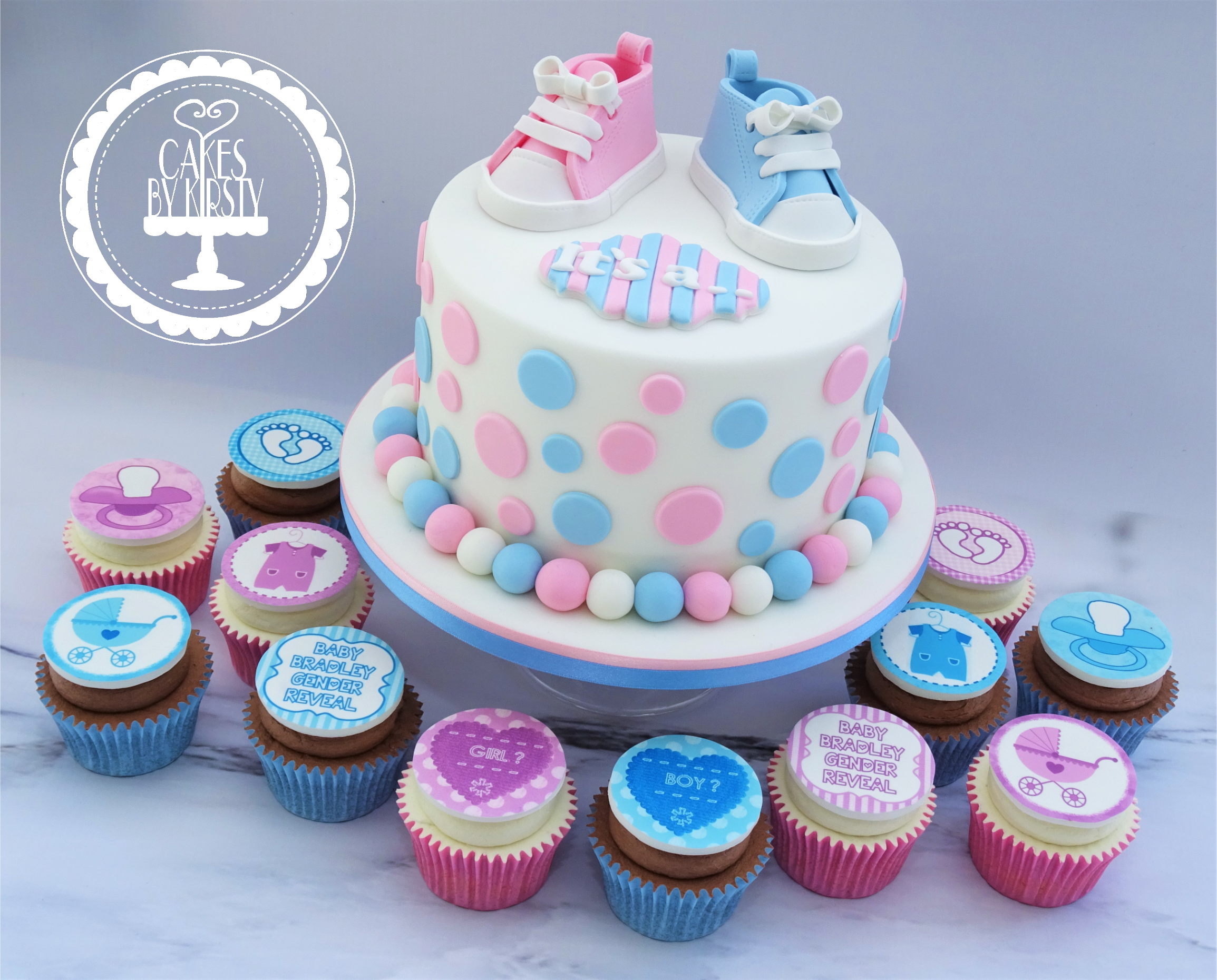 Gender Reveal Baby Shower Cake & Cupcakes