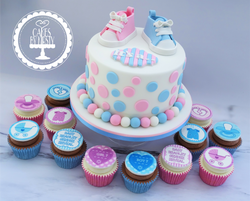 Gender Reveal Baby Shower Cake & Cupcakes