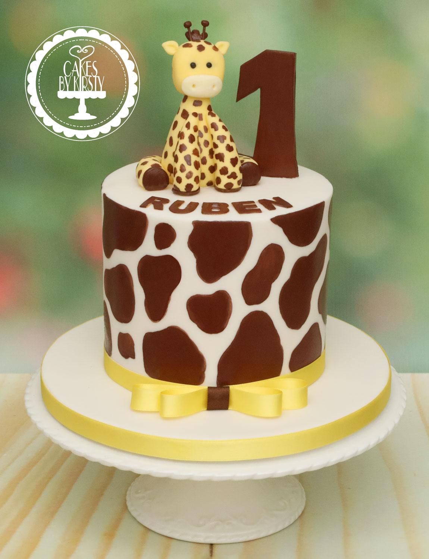 20200106 - Giraffe 1st Birthday Cake