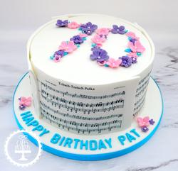 70th Floral Music Sheet Cake