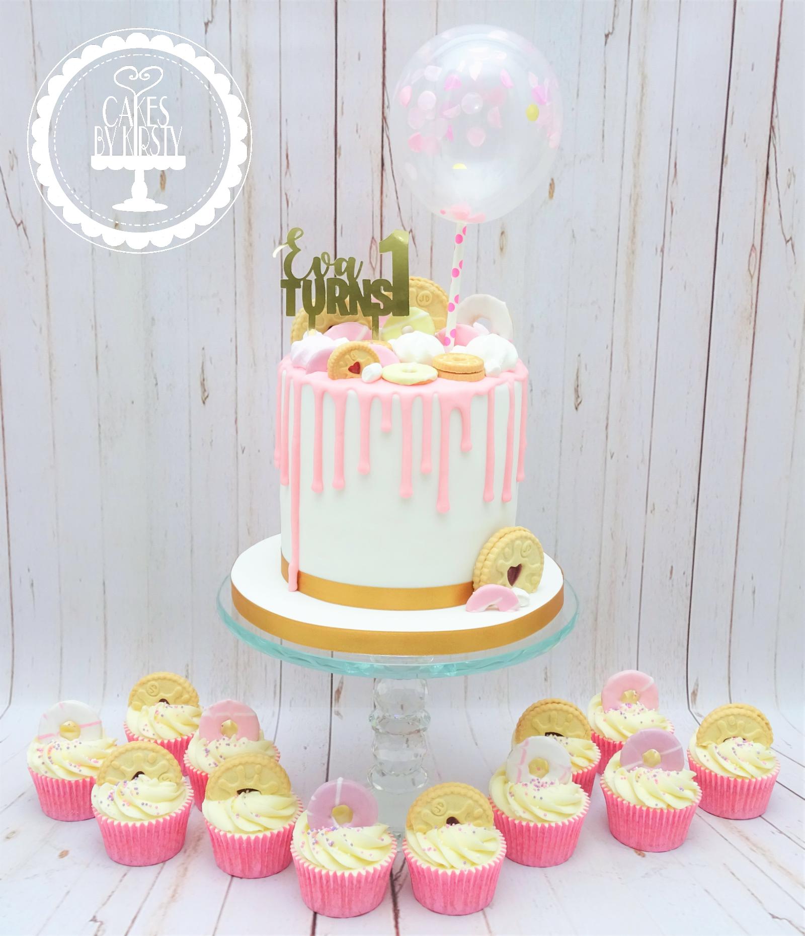 Balloon Drip Cake & Cupcakes