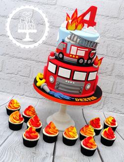 Fire Engine 4th Birthday Cake & Cupcakes