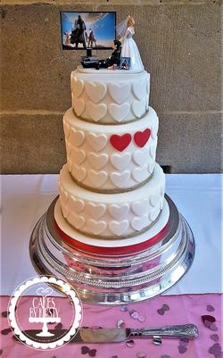 Red Hearts Wedding Cake