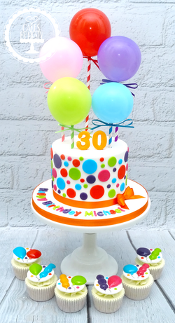 Balloons 30th Birthday Cake & Cupcakes