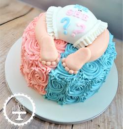 Gender Reveal Baby Bum Cake