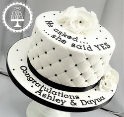 Black and White Engagement Cake