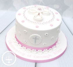 20191117 - Pink Floral Christening Cake
