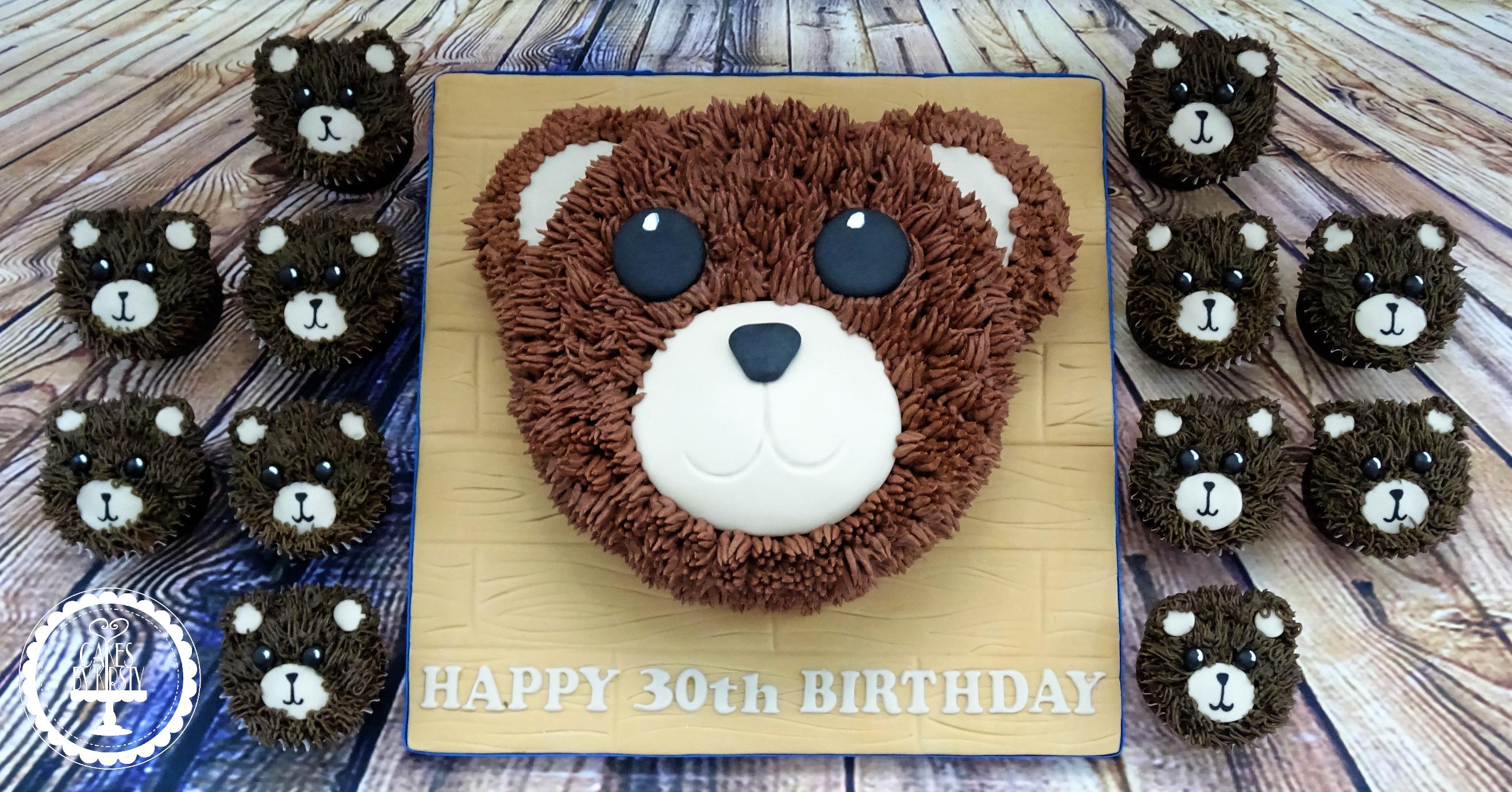 Teddy Bear Cake & Cupcakes
