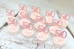 20200104 - 50th Rose Gold Cupcakes