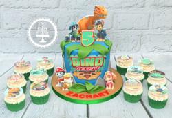 20210208 - Dino Rescue Paw Patrol Cupcakes & Cake