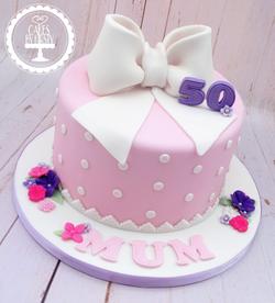 50th Vintage Bow Birthday Cake