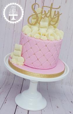 White Chocolate 60th Birthday Cake