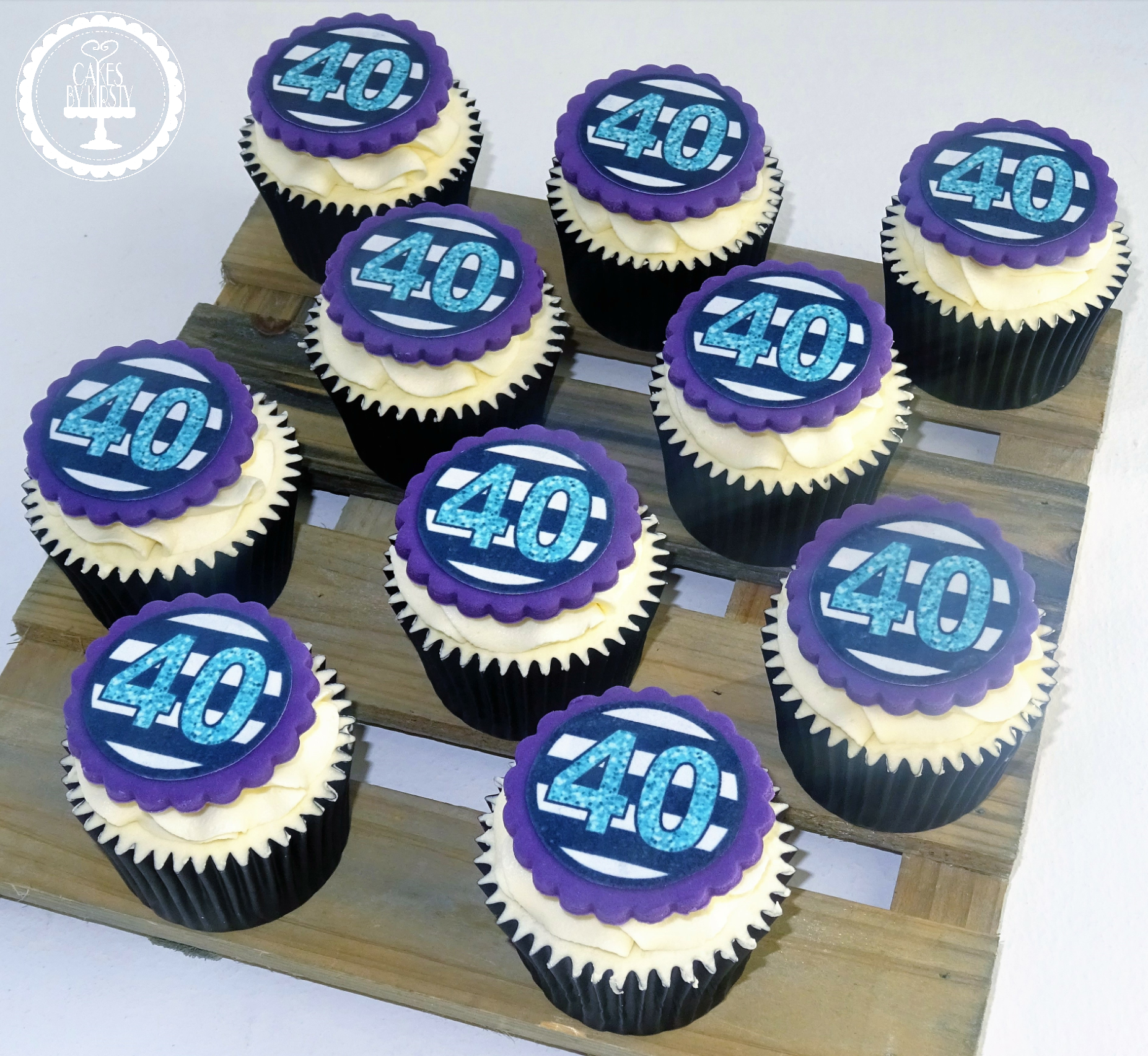 Purple 40th Cupcakes