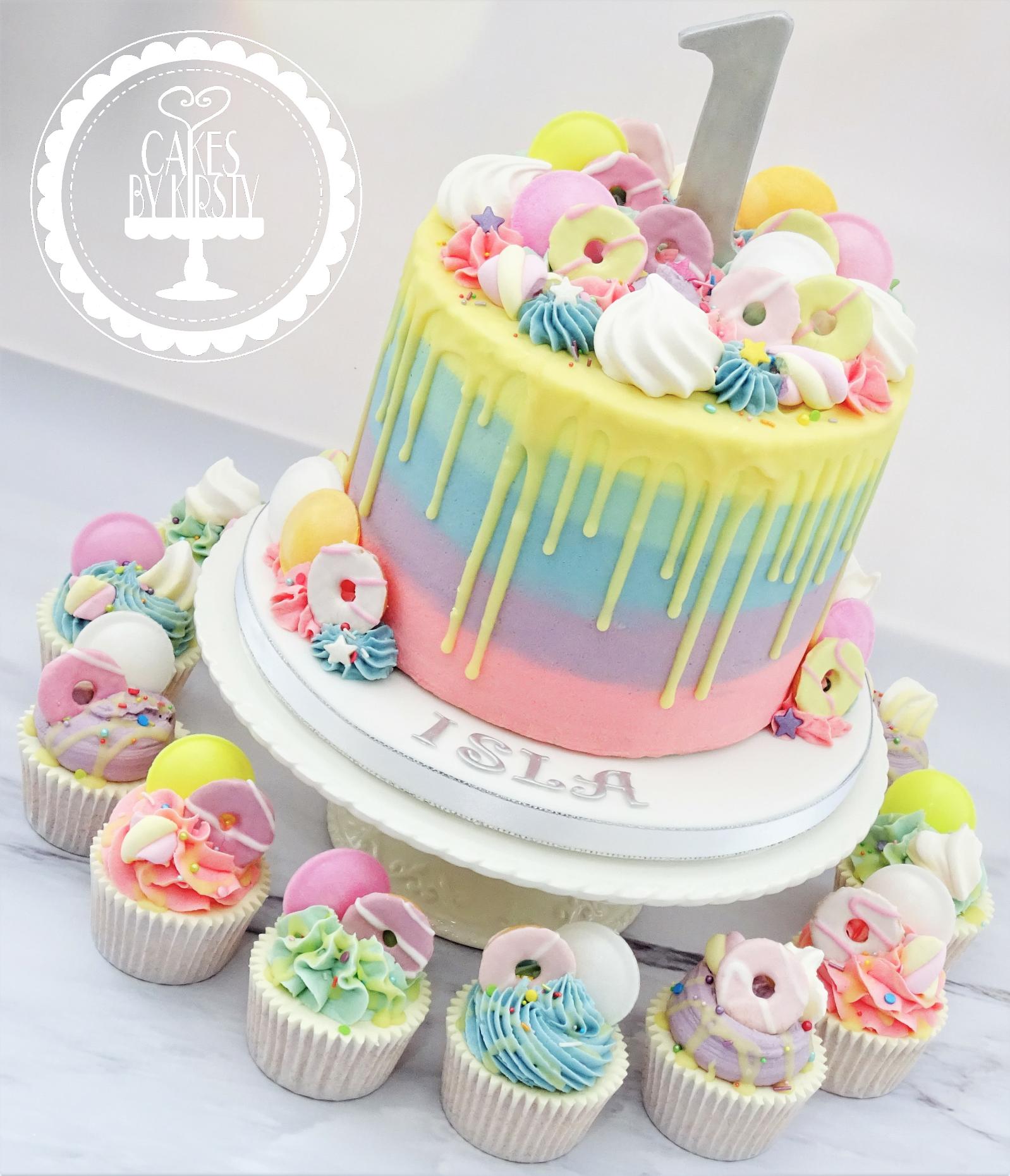 Pastel Drip Cake & Cupcakes