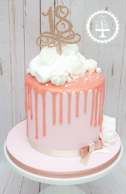 Rose Gold 18th Birthday Drip Cake