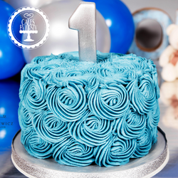 1st Birthday Cake - Blue Swirls