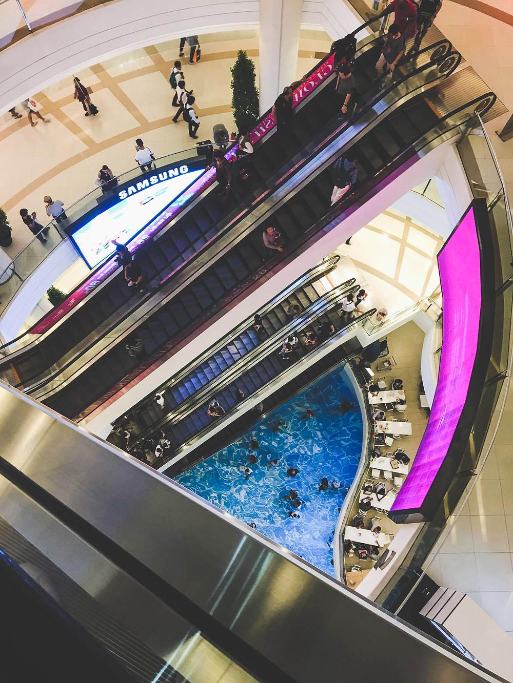 Siam Square - centre commerciaux - escalators