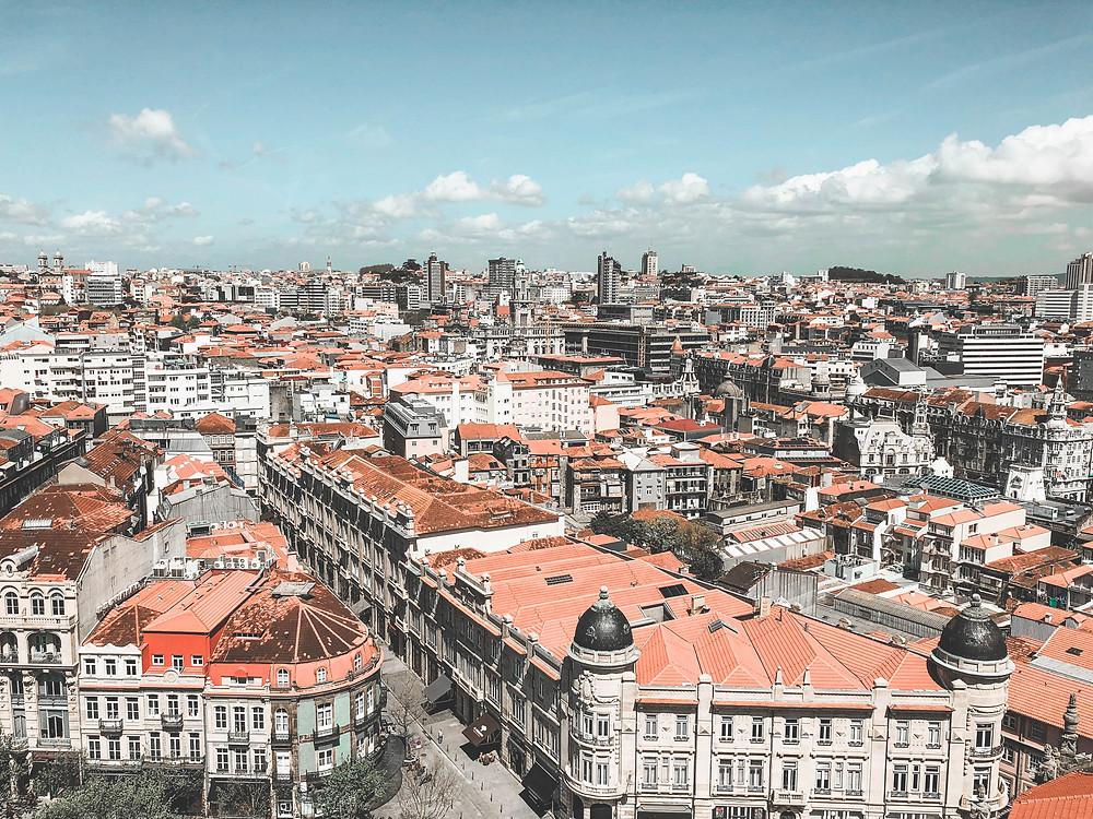 Vue de Porto depuis la tour Dos Clerigos - voyage