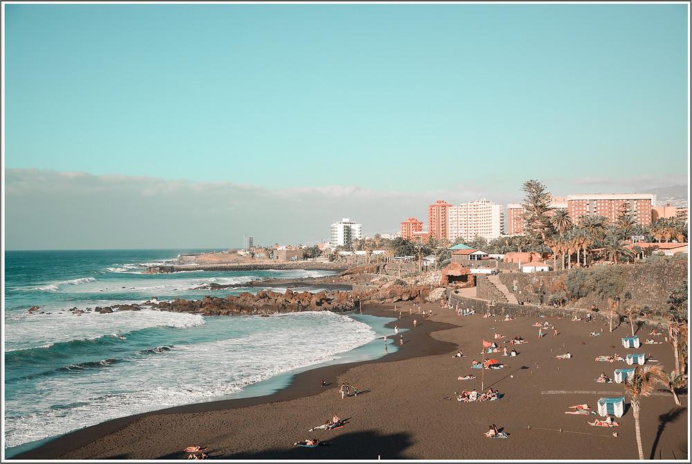 Playa Jardin tenerife bright colors beach black sand