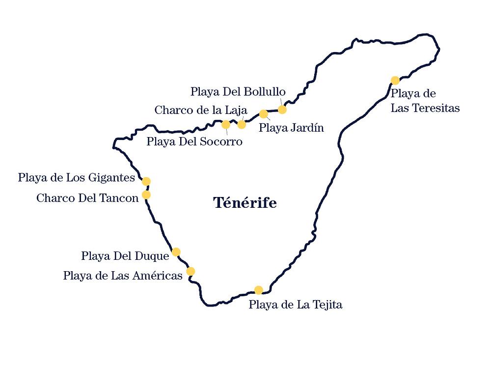 Carte plage Tenerife baignade charco lagon piscine
