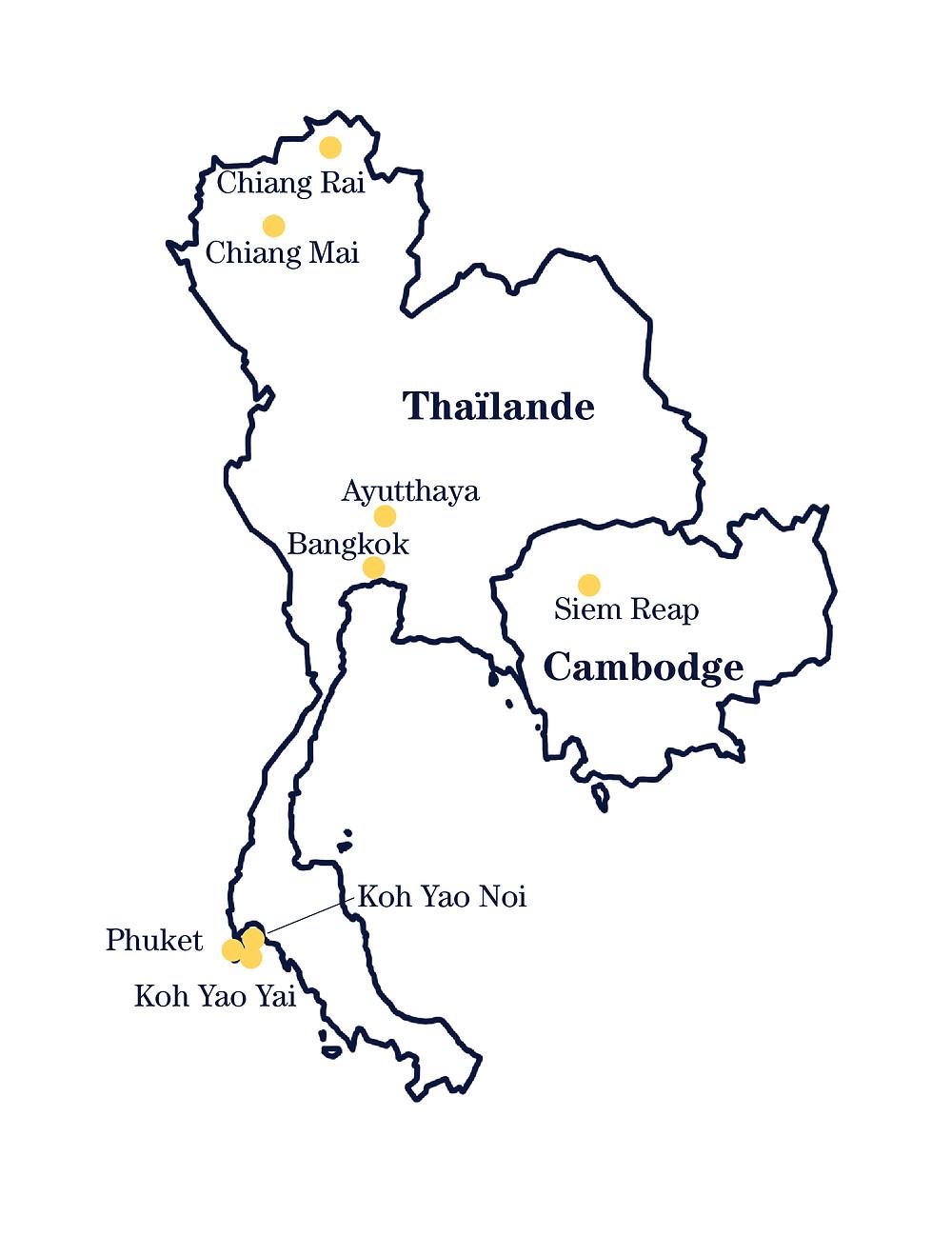 Carte lieux thailande cambodge itinéraire