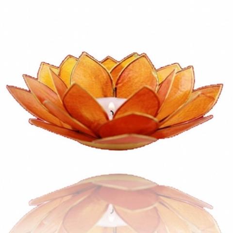 Porta velas-Flor de Lotus laranja - Chakra Sacral