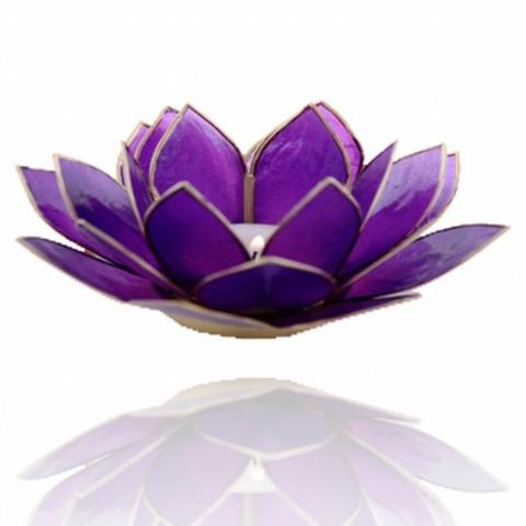 Porta velas - Flor de Lotus violeta- Chakra Coroa