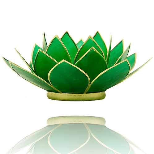 Porta velas- Flor de Lotus verde - Anahata Chakra