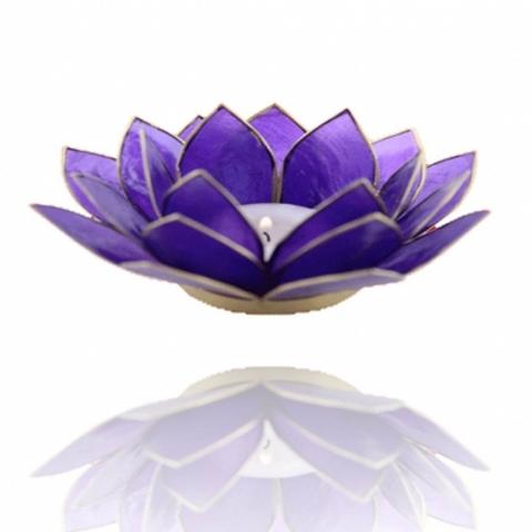 Porta velas- Flor de Lotus indigo - Chakra Ajna