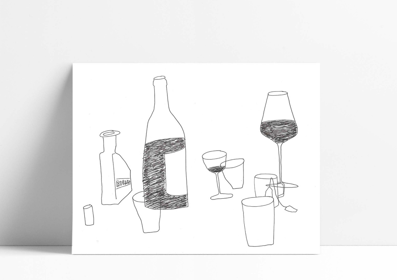 I love to draw the table after the aperitives or dinners. - J'adore dessiner la table apres le repas ou l'apéro.