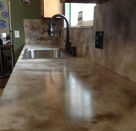 cementious counter with epoxy and satin finish top coat