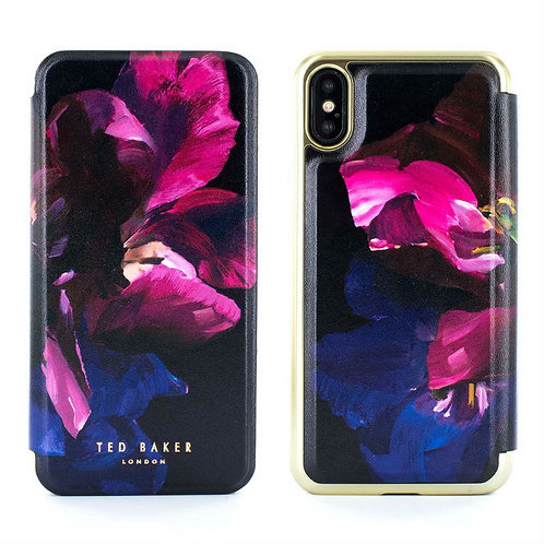 Ted Baker SHELEEN Mirror Folio Case for iPhone X – Impressionist Bloom 花卉金邊側掀手機套