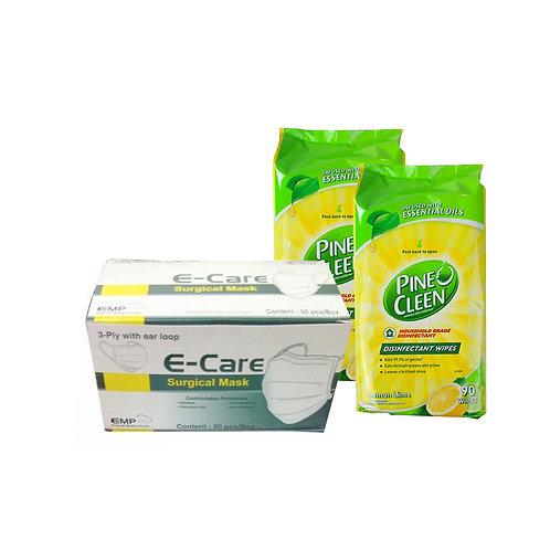 E-Care 一次性口罩  (50個) + PINE O CLEEN 消毒濕紙巾90片(2包)