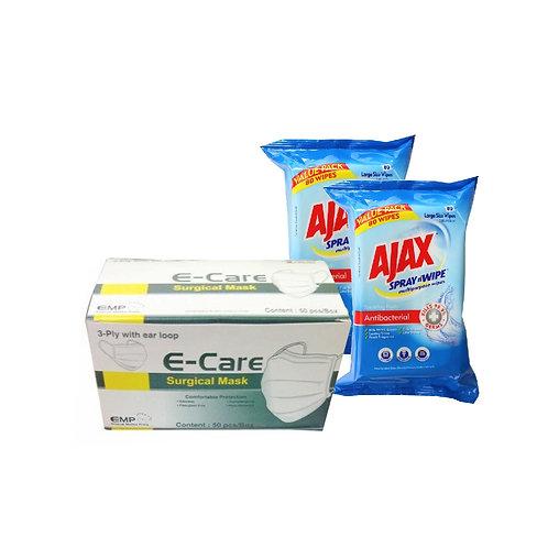 E-Care 一次性口罩  (50個) + AJAX 抗菌多用途濕紙巾 80片 (2包)
