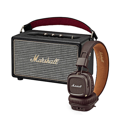 Marshall Kilburn Wireless Speaker + Major II Brown Bluetooth Headphone