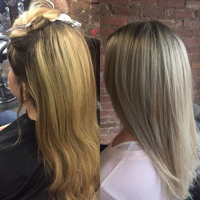 Before and after color correction from today! #olaplex #colorcorrection #hairbysarahselby #giassalon