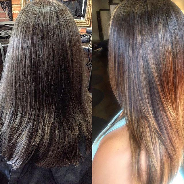 Before_ all natural color_After_ caramel balayage_#balayage #beforeandafterhair  #redken #hairbysara