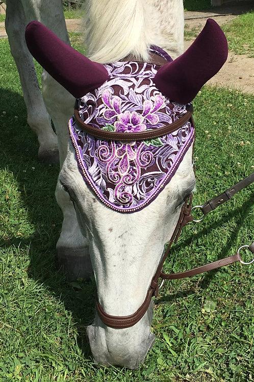 Plum and Purple Floral Horse Bonnet