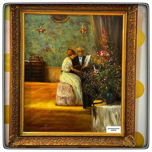 """MADJID-Gemälde """"Die Klavierstunde"""" mit Originalbrief des Meisters"""