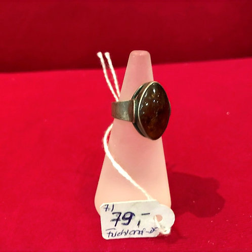 """Ring, Silber, oval, Bernstein, """"Fischland"""" Design, 40iger Jahre,Ringgröße= 51"""