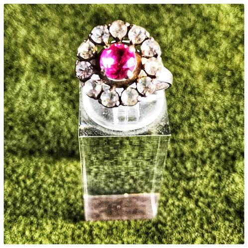Ring, mit Strasssteinen und pink-Glasstein, Silber