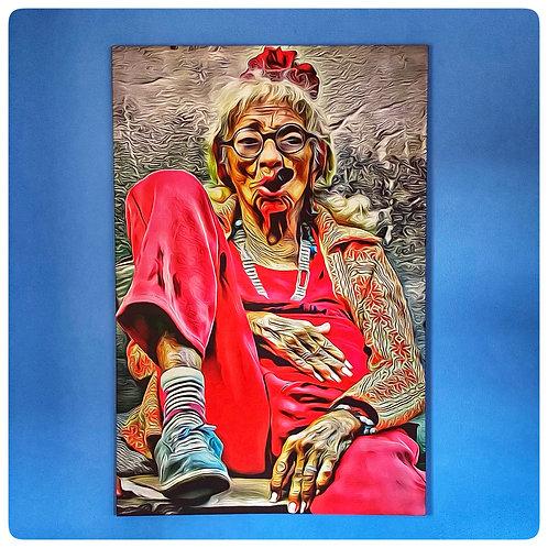 """""""Crazy Oma"""", Holzrahmen 120cm x 80cm, Digitaldruck auf Satinstoff"""